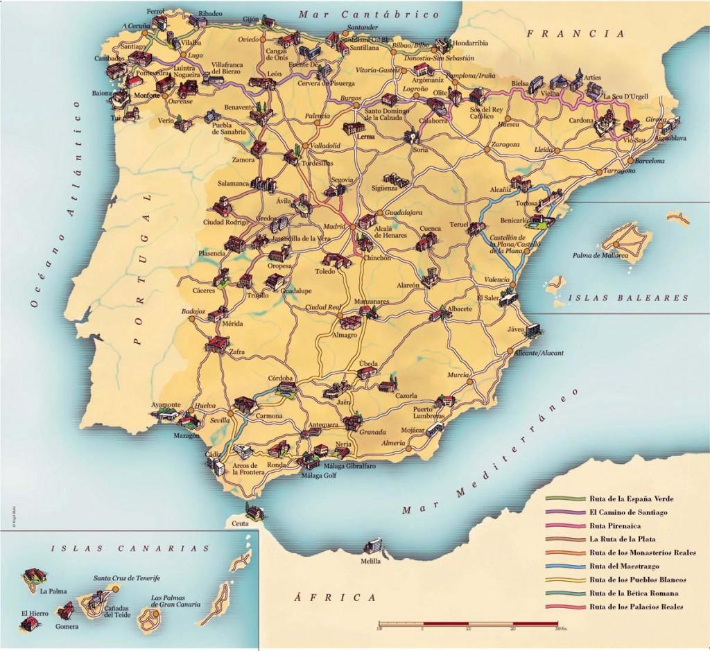 Mapa dos Paradores Espanhóis