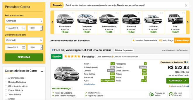 Aluguel de carro em Gramado precos Rentcars
